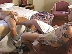 Tattooed hunk guy footjob and anal fuck a gay dude