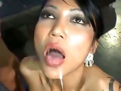 Busty chick gangbang with dp sex and cum fill