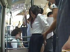 Crazy DP Gangbang in Public Bus for Japanese School Girl