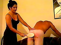 Mistress really gets into spanking