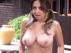 Hot Pigtailed Babe Chrissy Marie Showing Her Big Natural Tits Outdoors