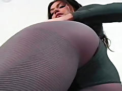 Cute brunette gets naughty in her sexy grey nylons