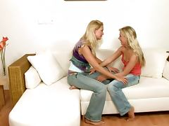 Lovely blond hotties enjoy the fisting delight