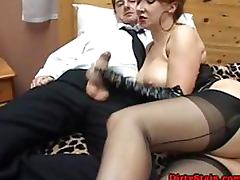 Kinky Dominant Mature Sucks Cock and Gives Footjob To Submissive