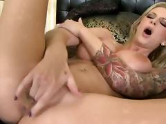 Brooke Banner the tattooed blonde girl fingers herself
