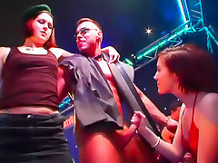 Horny girls suck nightclub cock