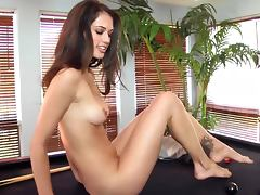 Slim Brunette Play With A Sex Toy On Top Of A Poll Table