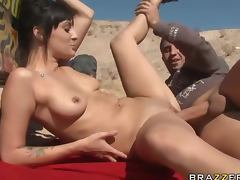 Beautiful Brunette Rides A Big Cock While Riding Dune Buggies