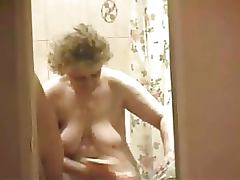 Mother, Aged, Bath, Bathing, Big Tits, Old