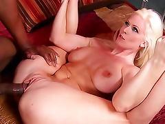 Flexible blonde milf plowed by a black cock