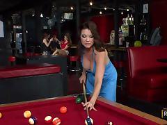 Bartender Bangs MILF Raquel DeVine on a Pool Table