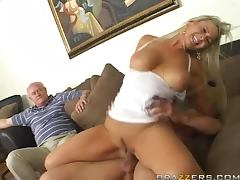 Busty blonde Abbey Brooks rides a cock in the presence of a voyeur tube porn video