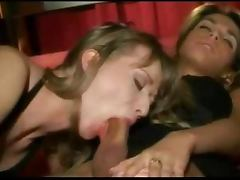 Sexy Shemale Gets a Blowjob From a Girl While Getting Fucked