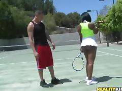 Horny ebony babe having interracial sex after tennis game porn tube video