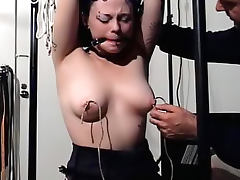 Gagged and tied girl vibrated