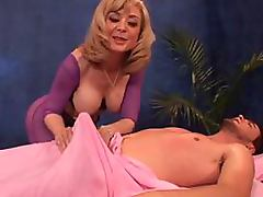 Mom and Boy, Blonde, Blowjob, Cougar, Handjob, Massage