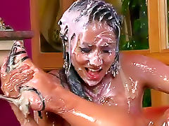 Thick pudding poured on sexy girls