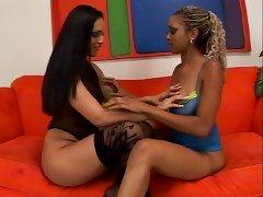 Filthy whore Ice La Fox has wild wet lesbian fun tube porn video