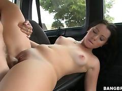 horny brunette has an unforgettable travel in a minivan