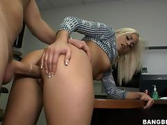 Jayden Pierson masturbates in the office and gets a hot doggy style fuck