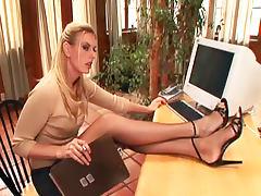 Office, Babe, Blonde, Cum, Footjob, Heels
