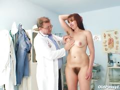 Hairy brunette pussy is examined porn tube video