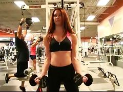 Teasing At The Gym With The Redhead Babe Melody