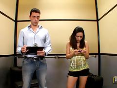 Banging Petite Brunette Tia Cyrus in Out of Order Elevator tube porn video