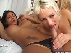 Three Trannies Having Sex with a Horny Blonde Girl tube porn video