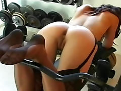 Karlie Montana solo tease in seamed stockings