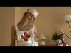 Busty Katrina Kozy masturbate in nurse uniform