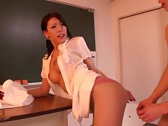 Sexy Asian teacher Haruka Sanada teasing and fucking with her boyfriend in the locker