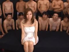 Japanese hottie Chihiro Akino fucks many guys and gets a bukkake porn tube video