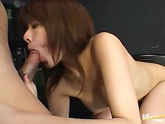 Busty Japanese bitch gets her hairy pussy licked and fucked