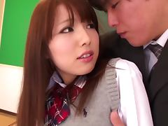 Amazingly hot Japanese schoolgirl fucks a guy in a classroom