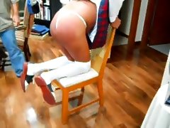 Sissy School Girl Betsy spanked for wearing a thong