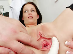 Bus, Brunette, Bus, Doctor, Exam, Gyno