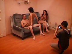 The filming of a teen threesome