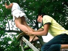 Upskirt, Blowjob, Couple, Dirty, Doggystyle, Garden
