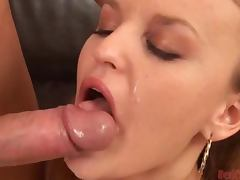 Gorgeous Blonde Slut Sucks Dick and Swallows Cum