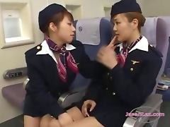 2 Asian Stewardesses Kissing Spitting Sucking Tongues Patting On The Airplane