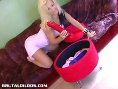 Vanessa filling her tight teen snatch with a thick brutal dildo