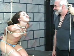 Tight rope bondage for this skinny girl