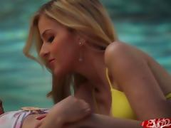 Abigaile Johnson Lesbian Pool Side with hot brunette