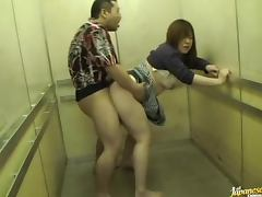 Chubby Japanese slut gets fucked in an elevator cage