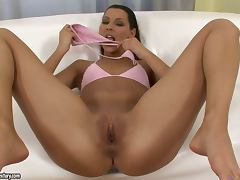 Horny Cindy Hope in pink lingerie fingers and gapes her pussy