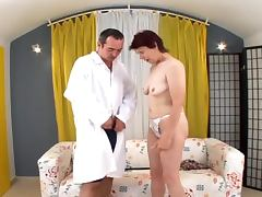 Slutty redhead granny gets fucked in her hairy pussy tube porn video
