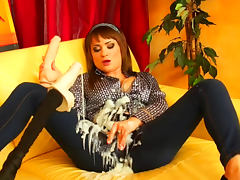 Goo covered girl plays with dildos