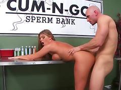 Nurse helps him cum at the sperm bank