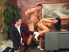 Slutty brunette girl gets threesomed in the office